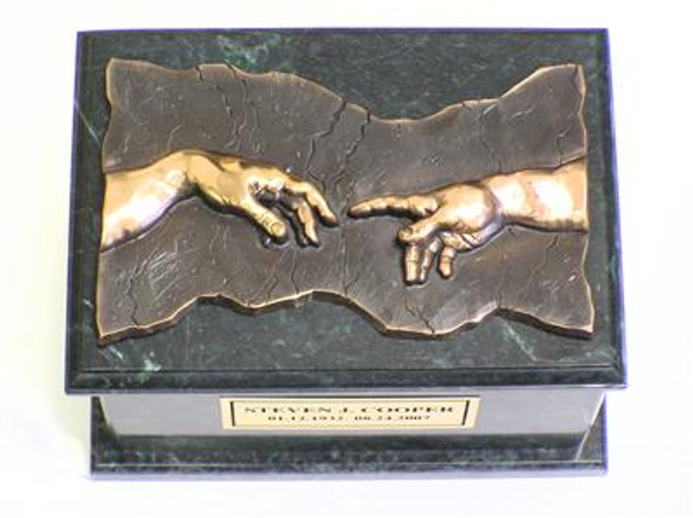 Hand of God Marble Cremation Urn - Green Marble - Bronze Plaque