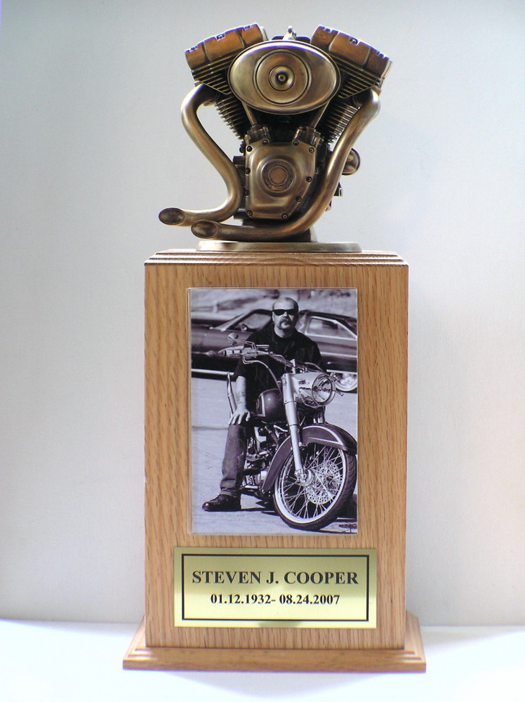 Motorcycle Engine Urn Tower Bronze Bust
