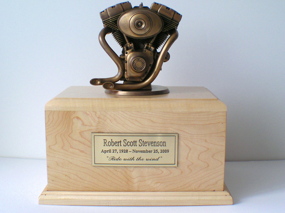 Motorcycle Engine Urn Bronze Bust