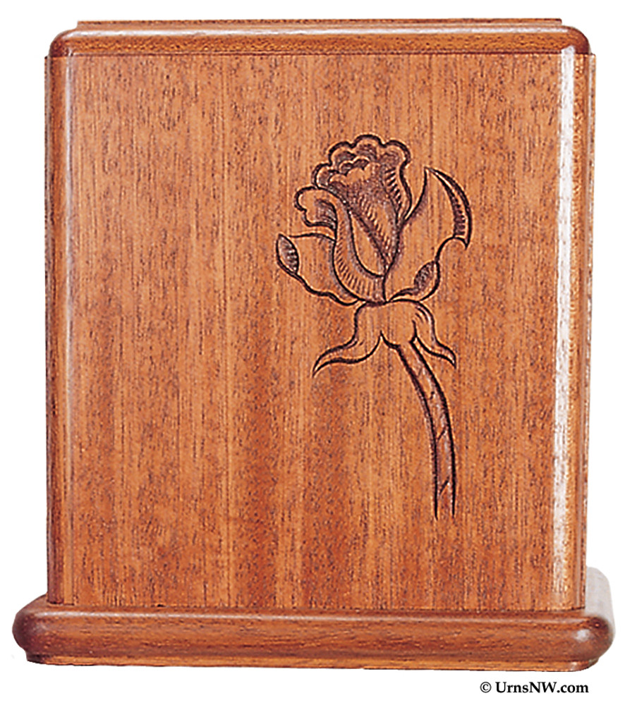 Mahogany Wood Cremation Urn Laser Engraved with Single Rose