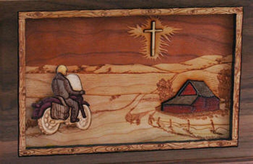 Companion Urn Scene: Bike and Cross
