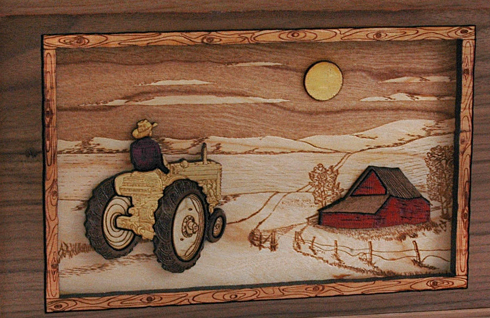 Companion Urn Scene: Tractor and Moon