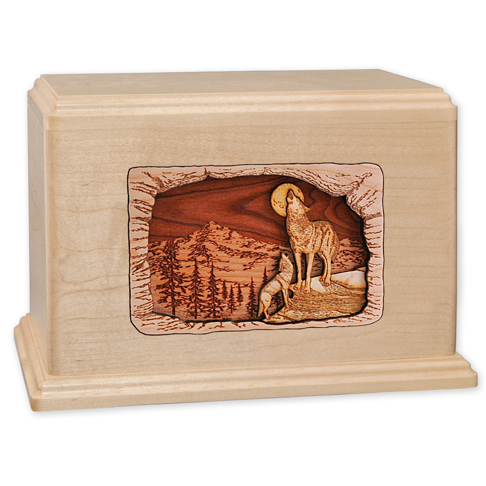 Howling Wolves Companion Cremation Urn - Maple