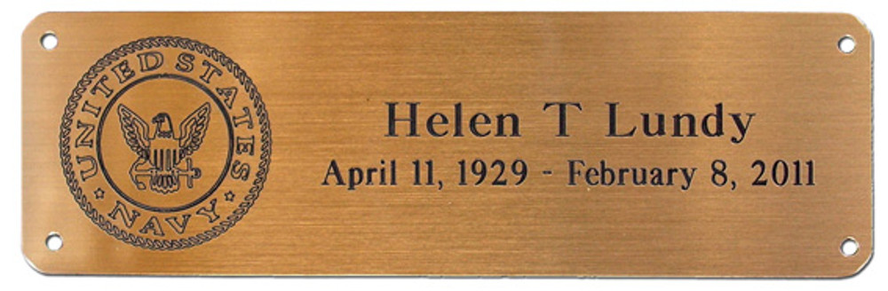 Metal Nameplate (with optional service emblem) for Wood Urns