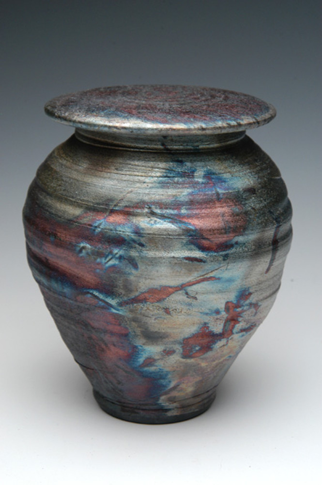 Handmade Raku Cremation Urn in Dolphin Blue