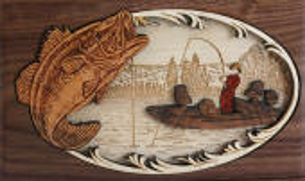 Boat Fishing Urn Scene