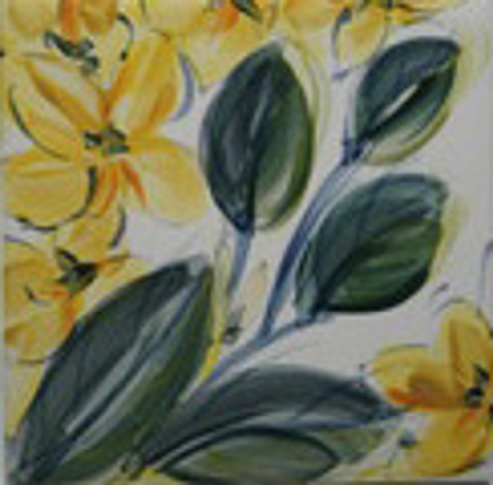 Yellow | Porcelain Urn with Hand Painted Flowers