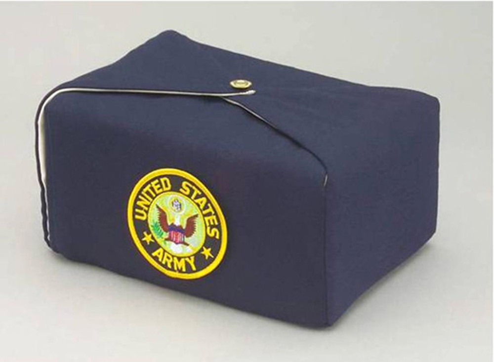 Silk Fabric Military Cremation Urn in Navy Blue