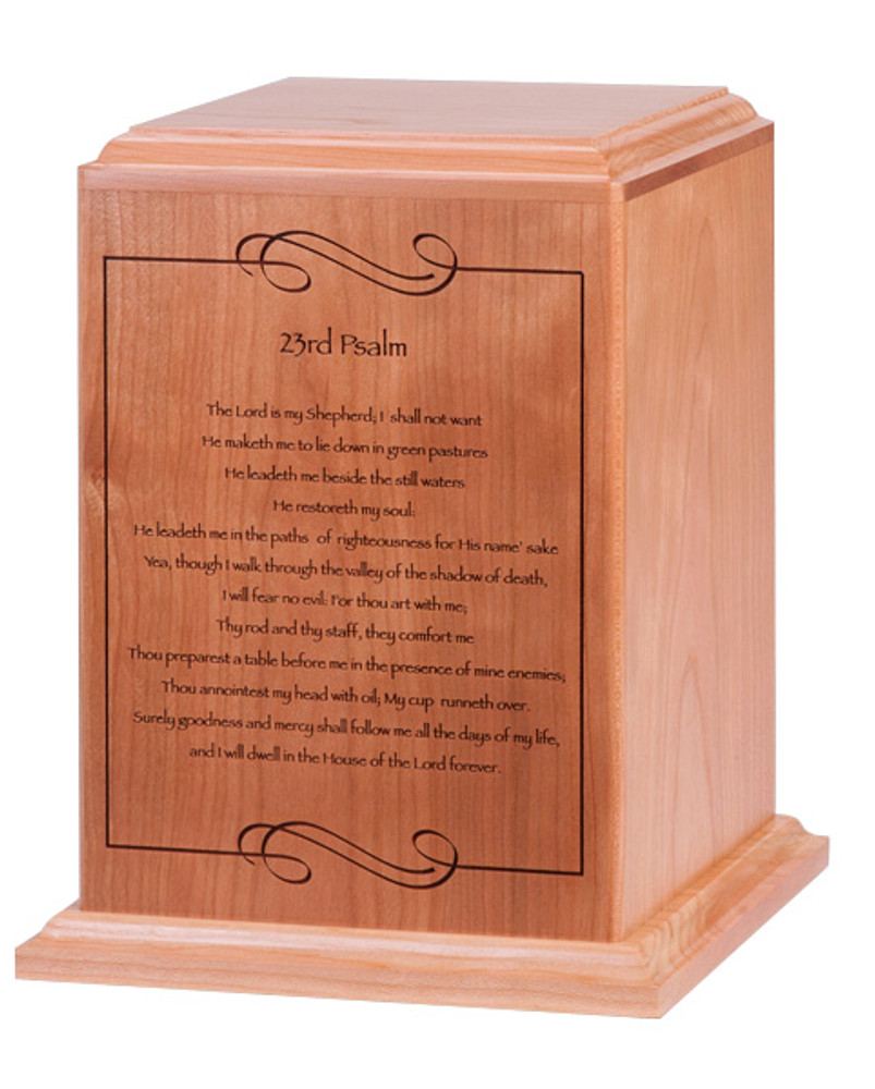 Psalm 23 Cremation Urn | Cherry Wood