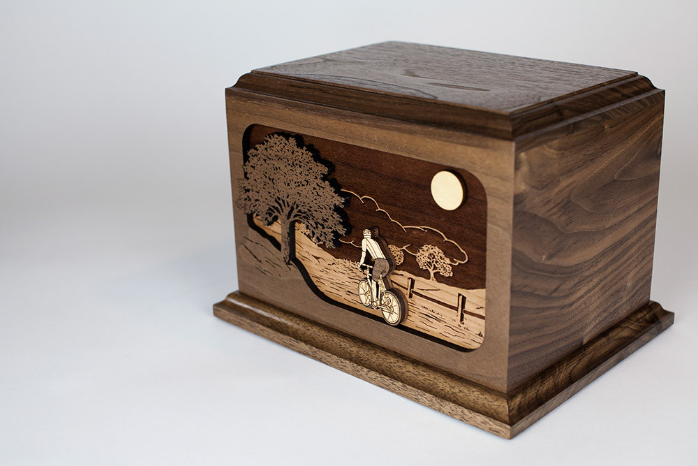 Bicycle Urn: 3-dimensional inlay art