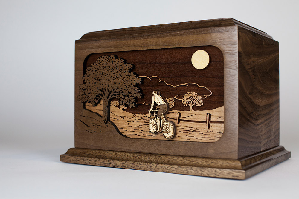 Bicycle Urn: Pictured in Walnut, also available in Oak