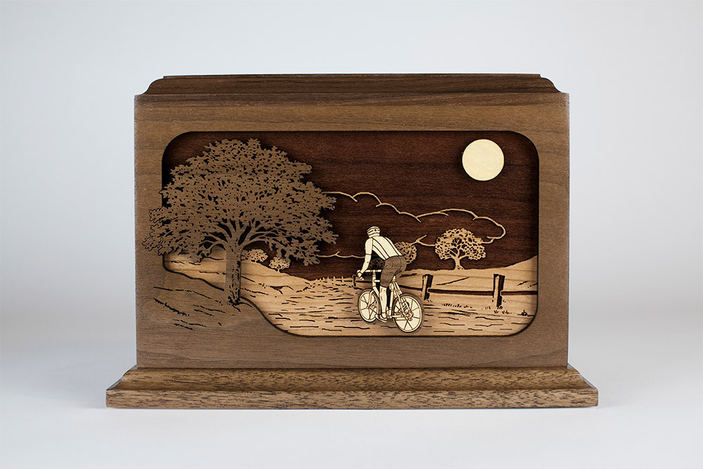 Bicycle Urn: Laser engraved inlay wood art scene