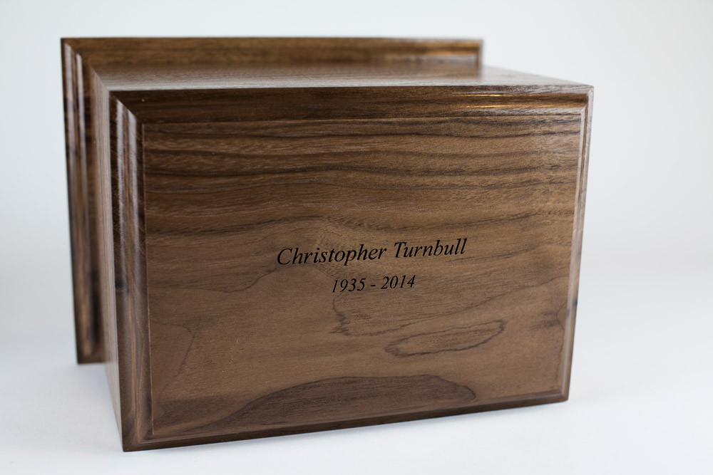 Bicycle Urn: Laser engraved inscription on top of urn Also available for back of urn