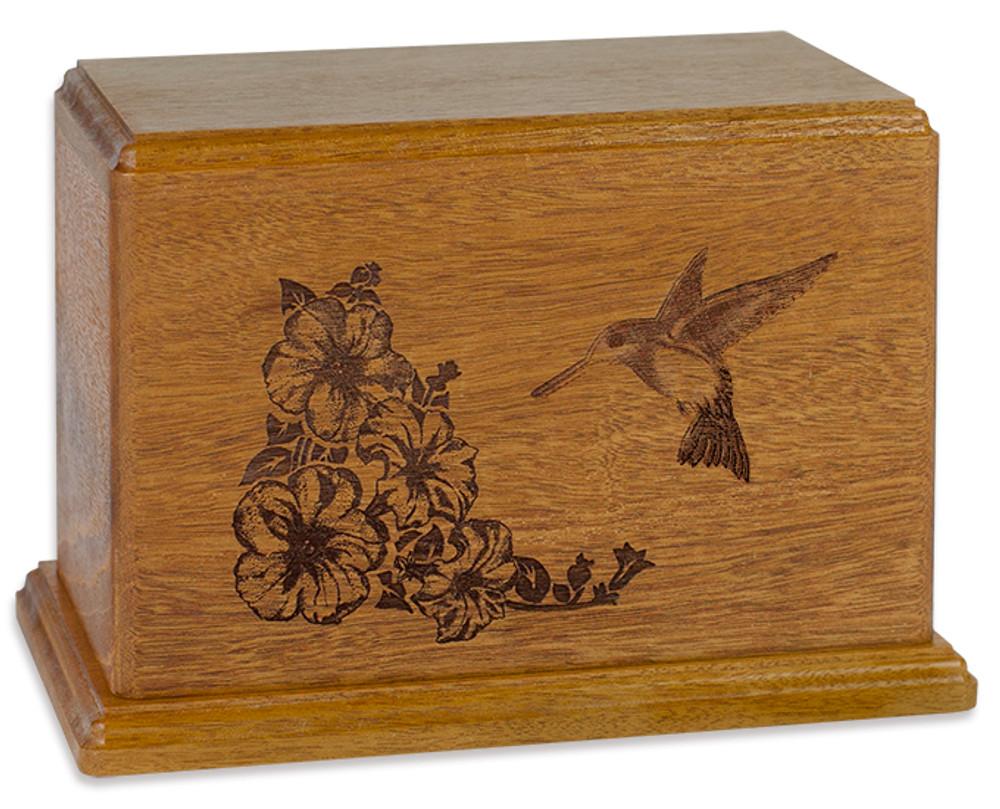 Laser Carved Hummingbird Urn - Mahogany