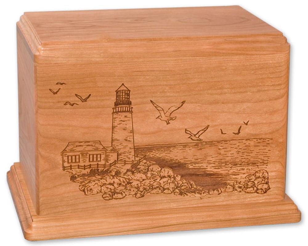 Laser Carved Lighthouse Urn - Cherry