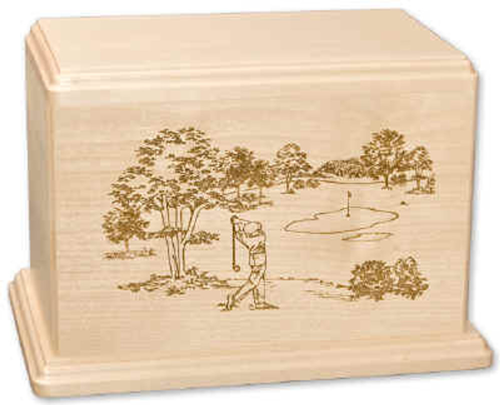 Laser Carved Golf Urn | Maple