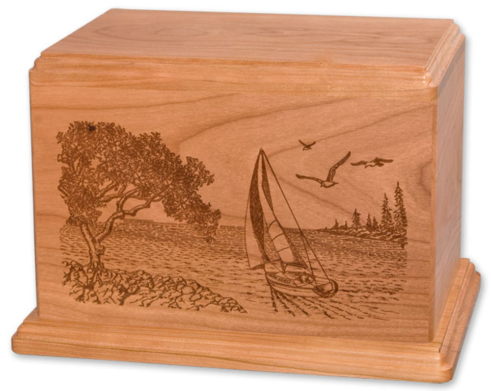 Laser Carved Soft Breezes Urn - Natural Cherry Wood
