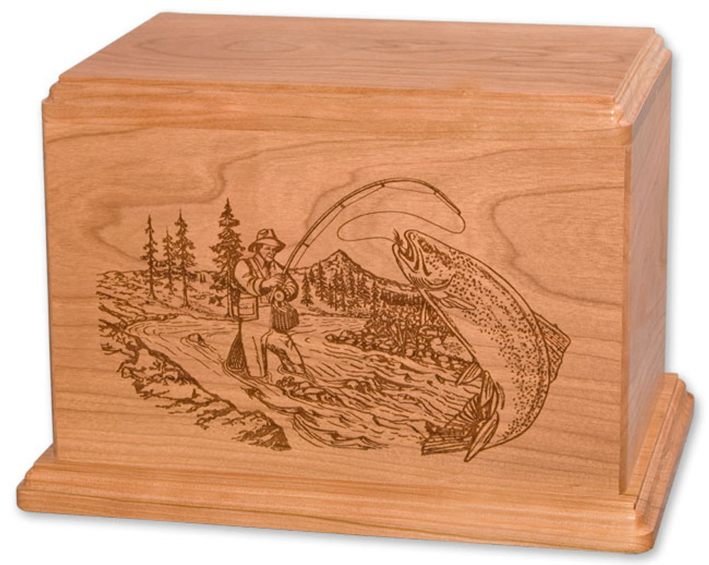 Laser Carved Stream Fishing Urn