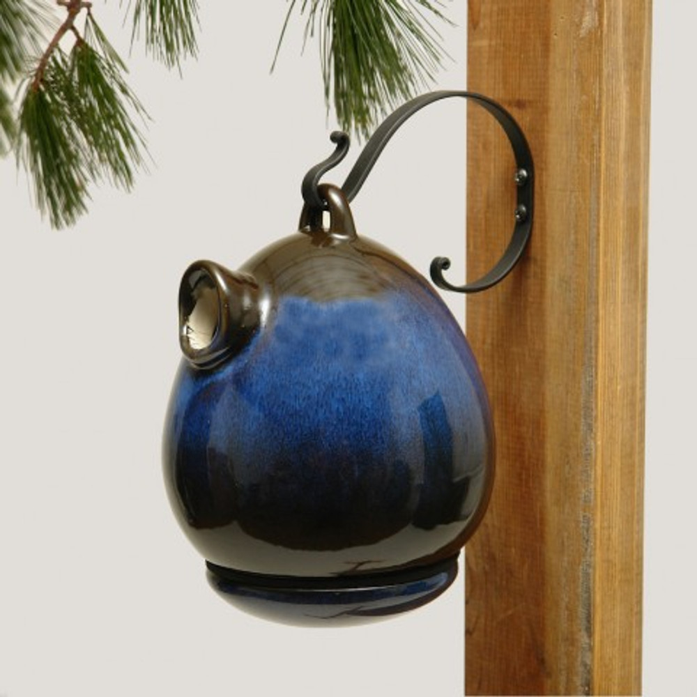 Birdhouse Urn in Cobalt Blue | Hanging
