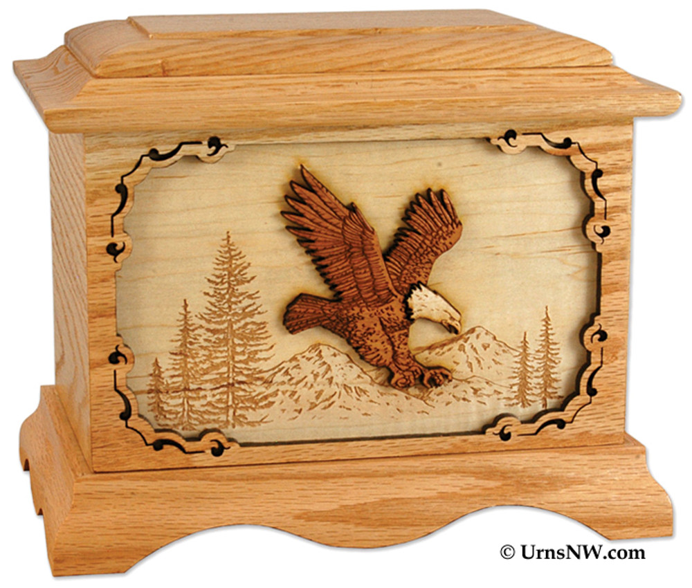 Eagle Cremation Urn in Oak