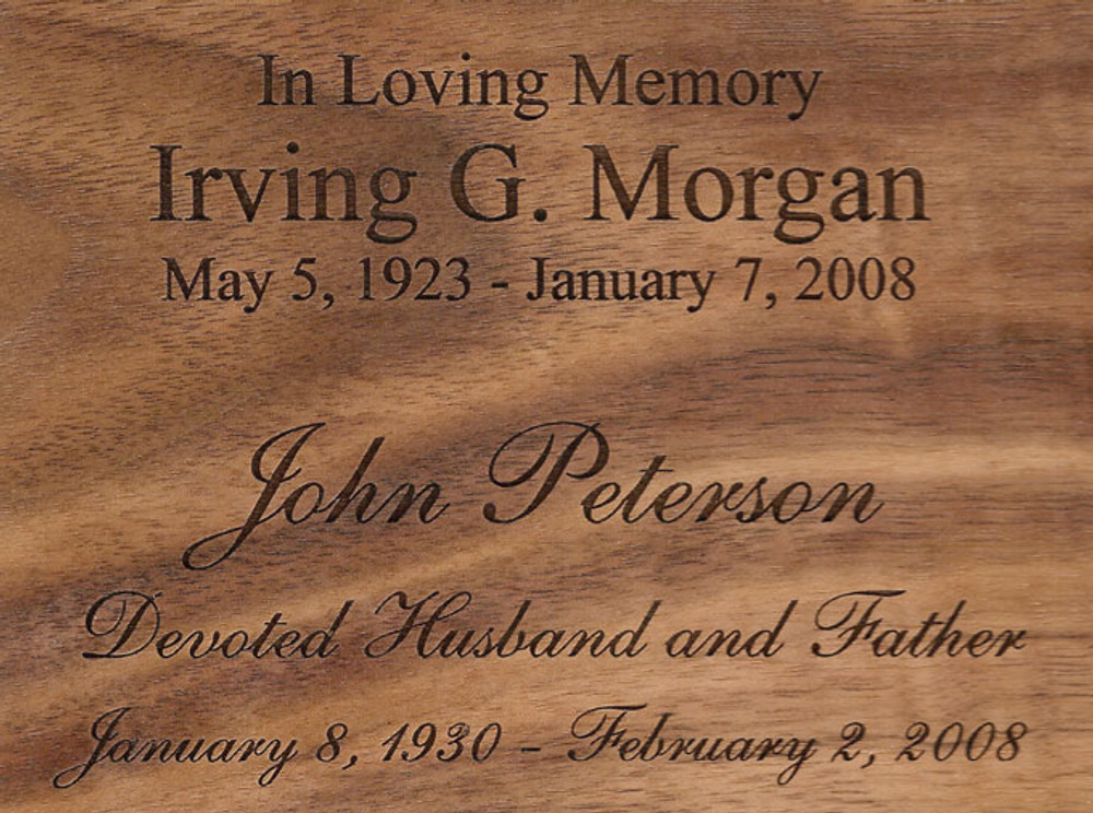 Urn Engraving SAMPLE | Shown in Walnut