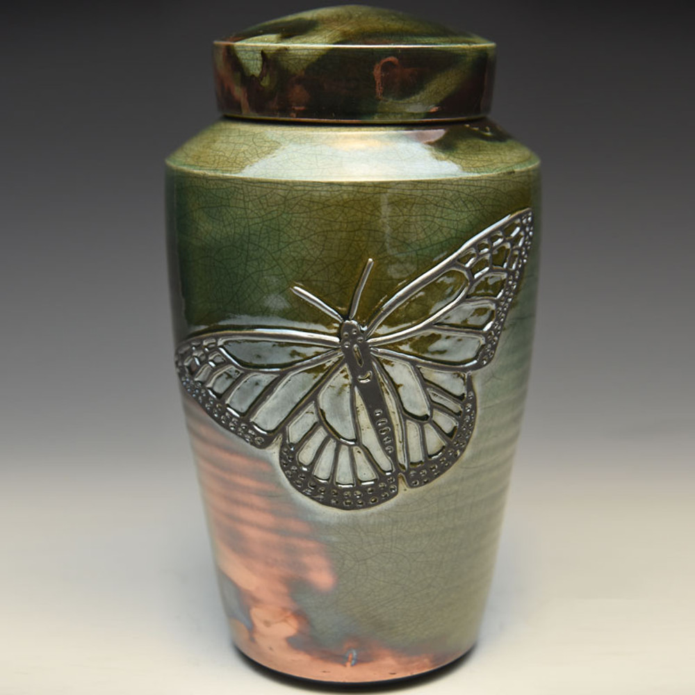 Butterfly Raku Ceramic Cremation Urn - Made in the USA