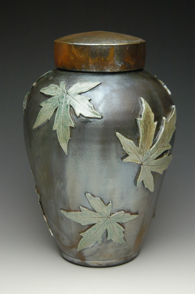 Falling Leaves Maple Raku Urn: Lemon Luster on Heavy Metal