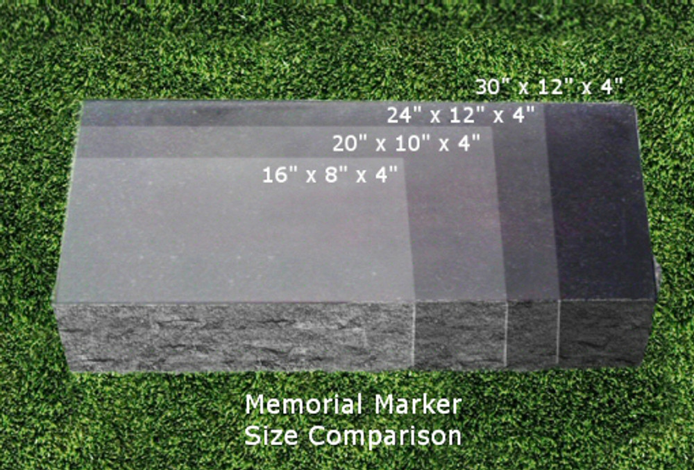 Personalized Granite Photo Marker - Size Chart