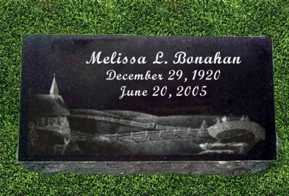 "Granite Grave Marker - ""Country Parish"""