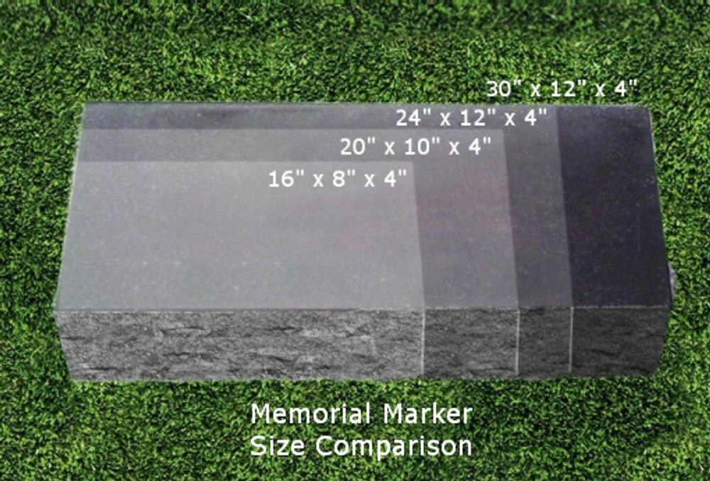 Personalized Granite Grave Marker - Size Chart