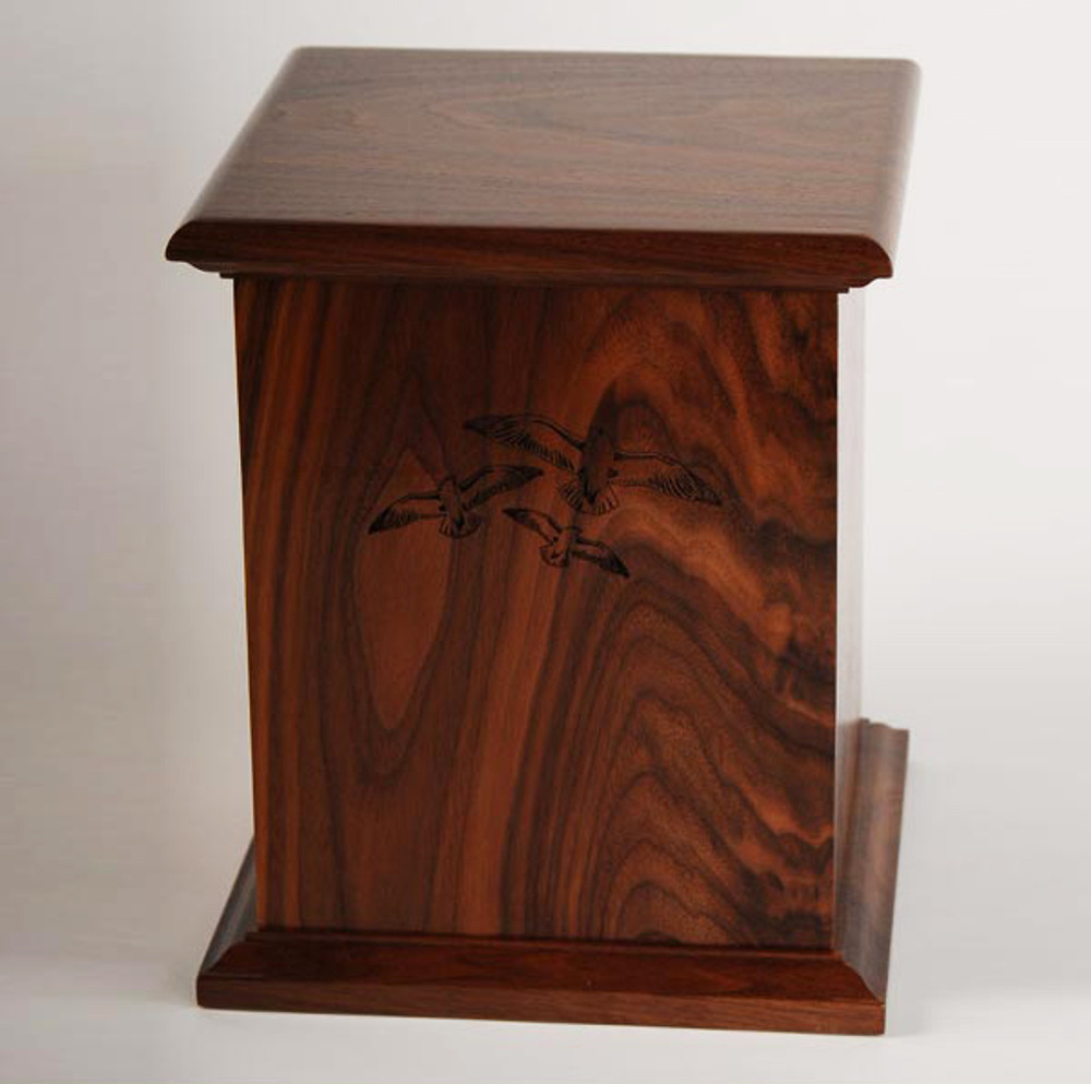 Walnut Wood Urn with Laser Carved Seagulls