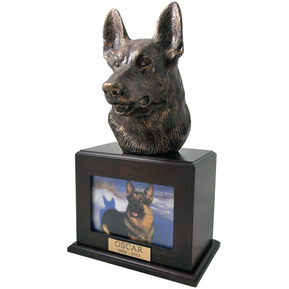 German Shepherd Urn with Photo Frame