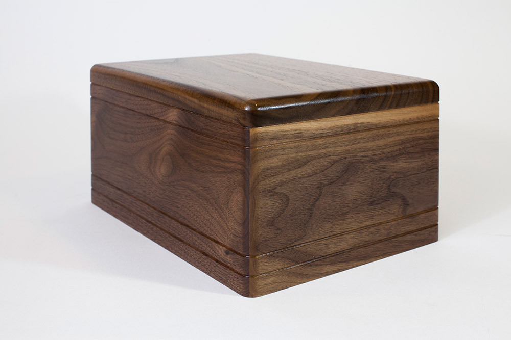 Boxwood Cremation Urn in Walnut - Angle