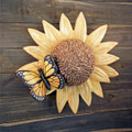 Handmade Ceramic Sunflower and Butterfly Cremation Urn