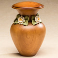 Tranquility Wood Cremation Urn with White Roses