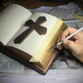 Ceramic Bible with Cross Cremation Urn