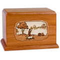 Hunting Dog Companion Urn - Mahogany Wood