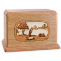 Hunting Dog Companion Urn - Oak Wood