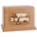 Hunting Dog Companion Urn - Oak Wood