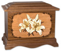 Lilies Cremation Urn in Walnut Wood