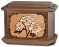 Mums Flower Cremation Urn in Walnut Wood