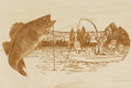 Walleye Fishing Boat Scene - Laser Carved