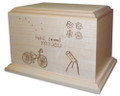 Have your child's drawing engraved onto a wood cremation urn
