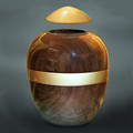 Walnut Wood Urn with Gold Lid