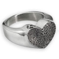 Stainless Steel Fingerprint Heart Ring - With keepsake chamber