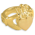 Celtic Claddagh Cremation Ring in 14k Gold Plated Sterling Silver