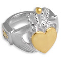 Celtic Claddagh Cremation Ring in Sterling Silver w/ 14k Gold Accents
