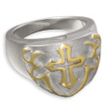 Two-Toned Sterling Silver & 14k Gold Men's Cross Cremation Ring
