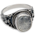 Genuine Sterling Silver Antique Ring Clear glass front means keepsakes are visible