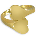 Double Heart Companion Cremation Ring in 14k Gold Plating